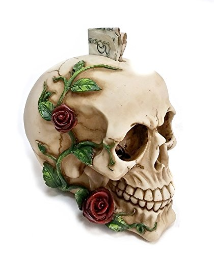 Bellaa Decorative Laughing White Skull Money Box – Piggy Bank with Rose Fantasy Statue Sculptures