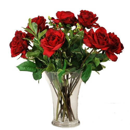 Dozen red roses in glass vase 20 the artisan shoppe for 12 dozen roses at your door