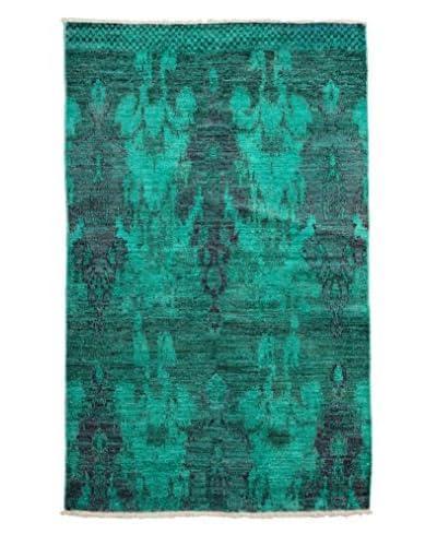 Darya Rugs Moroccan One-of-a-Kind Rug, Turquoise/Aqua, 4' x 6' 3