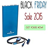 CYBER MONDAY SALE!!! bPowered UP® ZOOM Highest Rated Power Bank - Premium Ultra-thin Portable External Battery Charger - TRUE-12000 mAh - DUAL USB - Works on all Cell Phones & Tablets - iPhone, Samsung, iPads -  Aluminum 3-in-1 Cord with Lightening Plug Included - (Blue)