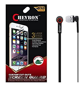 Chevron Diamond Screen Guard Protector For Lenovo K4 Note With Chevron 3.5mm Stereo Earphones (With Mic)