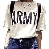 ゆったり 半袖 Tシャツ 無地 キレイ カジュアル ロゴ入り レディース トップス (ARMY, 2XL)