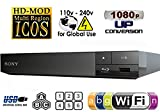SONY BDP-S3200 Wi-Fi Upgraded Multi Region Zone Free Blu Ray DVD Player - PAL/NTSC - Wi-Fi - 1 USB, 1 HDMI, 1 COAX, 1 ETHERNET Connections - 6 Feet HDMI Cable Included.