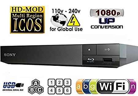 2015 SONY BDP-S3500 Lecteur Multi Zone Region Code Free Blu Ray WI-FI - DVD - CD Player - PAL/NTSC - Worldwide Voltage 100~240V - 1 USB, 1 HDMI, 1 COAX, 1 ETHERNET Connections + Câble HDMI Haute Performance Compatible Ethernet / 2M