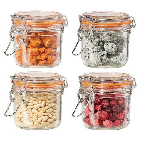 Oggi 4 Piece Airtight Glass Canister Set with Clamp Lids and Silicone Gaskets (Airtight Glass Storage Containers compare prices)