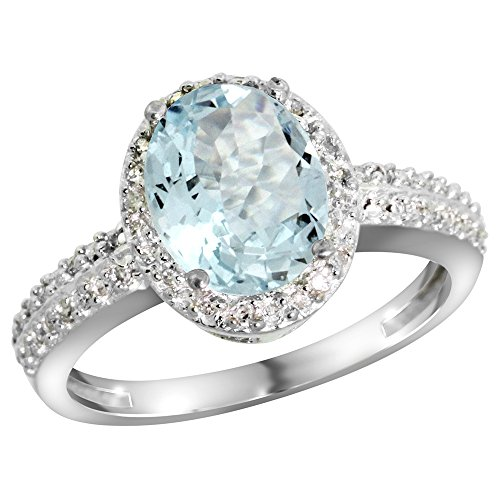 10K White Gold Diamond Natural Aquamarine Ring Oval
