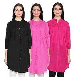 NumBrave Black, Pink & Magenta Long Cotton Top (Pack of 3)