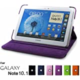 Samsung Galaxy Note 10.1 Case, GMYLE(R) Folio Case 360 for Samsung Galaxy Note 10.1 N8000 - Purple PU Leather 360 Degree Rotating Swivel Folio Case Cover (With Adjustable Multi Angle Stand)