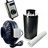 VenTech VT IF6+CF6-B Inline Exhaust Blower Fan with Carbon Filter and Variable Speed Controller, 440 CFM, 6""
