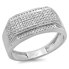 buy 0.45 Carat (Ctw) Platinum Plated Sterling Silver Real Round White Diamond Men'S Flashy Hip Hop Pinky Ring 1/2 Ct (Size 9.5)