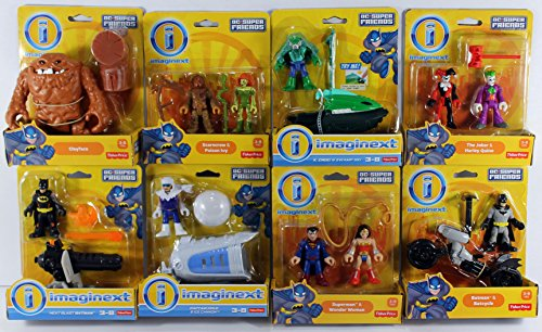 Fisher-Price Imaginext DC Super Friends Set - Scarecrow, Poison Ivy, Batman, Superman, Wonder Woman, K Croc, Joker, Harley Quinn, Captain Cold & Clayface