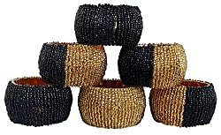 Set of 6 - Elegance Beaded Round Napkin Rings Black Gold - Handcrafted Napkin for Cloth Napkin - Dia 2.5 Inches