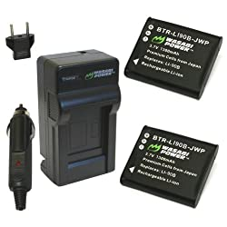 Wasabi Power Battery (2-Pack) and Charger for Olympus LI-90B LI-92B and Olympus SH-1 SH-50 iHS SP-100 SP-100EE Tough TG-1 iHS Tough TG-2 iHS Tough TG-3 XZ-2 iHS