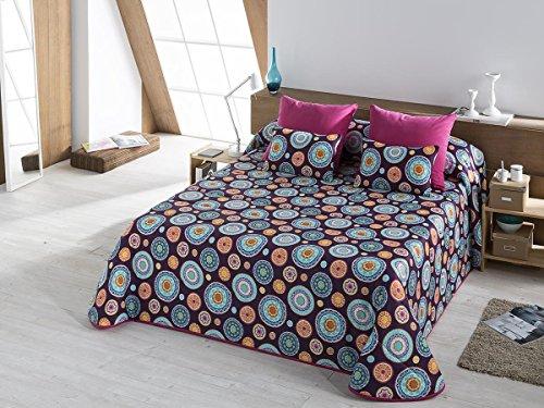 Textilhome - Colcha Bouti estampada ITACA 105 cm. Color Malva