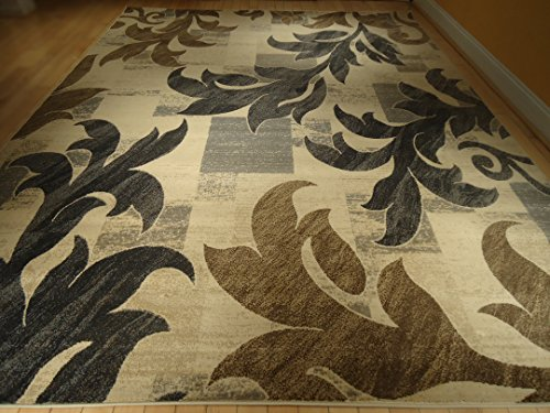 New Beautiful Gorgeous Leaf Design Modern Rug 5x8 Rugs Beige Black Blue Gray Brown Indoor Rugs Floor Carpet Floral Rugs 5x7 Carpets Multisize Rugs (Medium 5x8)
