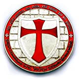1 Ounce Knights Templar Cross Masonic Freemason Silver Coin + Case (LISTING O...