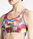 Women's Double Layer Sports Bra Print Check Geo