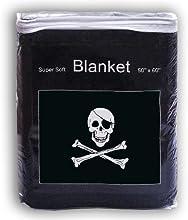 Jolly Roger Fleece Blanket 5 ft x 42 ft Skull and Crossbones Throw Cover Pirate Flag Travel Blanket