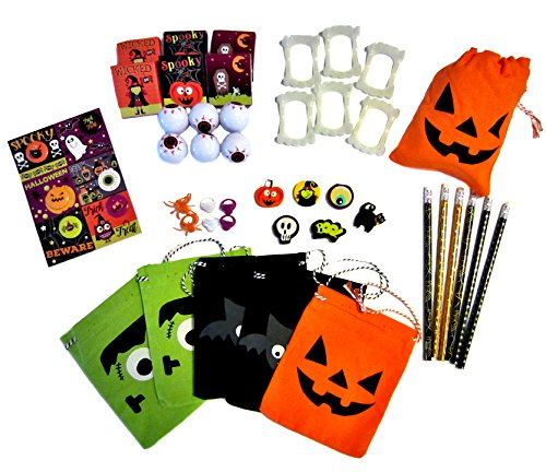 Goody Bags for Kids - Halloween Decorations - 48 Piece Variety Pack - 6 Burlap Party Favors Bags w/ Pencils, Erasers, Rings, Eyeballs, Sticker Sheets, Vampire Teeth, Buttons - Halloween Party (Gruesome Halloween Ideas)