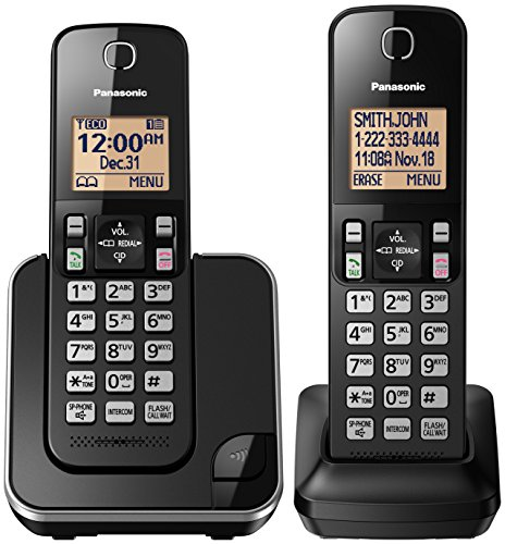 panasonic-kx-tgc352b-expandable-cordless-phone-with-amber-backlit-display-2-handsets-black