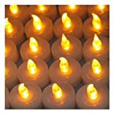 Set-of-100-Flameless--Smokeless-Realistic-Light-LED-Candles-Tealights-Amber-Yellow-Operated-on-Batteries