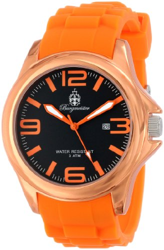Burgmeister Fun Time Women's Quartz Watch with Black Dial Analogue Display and Orange Silicone Strap BM166-090B