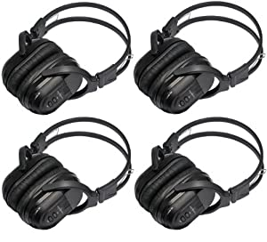 7903c61c77c 4 Pack of Two Channel Folding Universal Rear Entertainment System Infrared  Headphones Wireless IR DVD Player Head Phones for in Car TV Video Audio  Listening