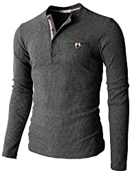 H2H Mens Bound Pocket Henley Shirts o…