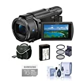 Sony FDR-AX53 4K Ultra HD Handycam Camcorder Bundle with Video Bag, 64GB SDXC Card, 55mm Filter Kit, Spare Battery, Cleaning Kit