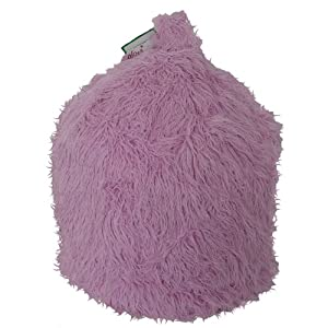 Faux Fur Pink Mongolian Bean Bag with Beans