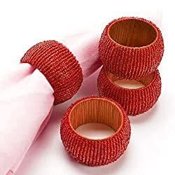 Set of 4 - Red Beaded Table Decoration Napkin Rings - Gifts - Perfect for Dinner Parties - Dia 2.5 Inches