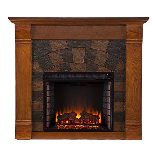 Southern Enterprises SEI Elkmont Salem Electric Fireplace, Antique Oak