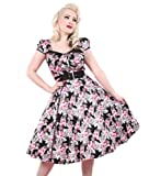 H&R London 50's Pink Rose Button Dress Black