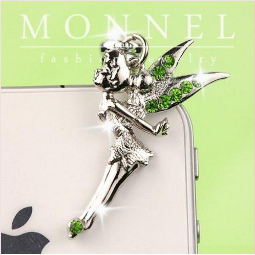 Ip167 Tinkerbell Fairy Anti Dust Plug Cover Charm for Iphone Android 3.5mm
