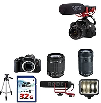 Canon EOS Rebel T6i DSLR Camera with 18-55mm Lens IS STM + Canon EF-S 55-250mm f/4-5.6 IS STM Lens + Rode VideoMic GO On-Camera Microphone + 32GB Memory Card + Tripod + LED Light + Video Bundle
