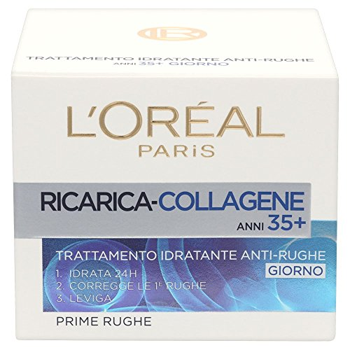 L'Oréal Paris Ricarica Collagene 35+ Crema Viso Idratante Anti-Rughe Giorno, 50 ml