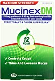 Mucinex DM Maximum Strength 12 Hour Expectorant and Cough Suppressant Bi-Layer Tablets, 28 Count