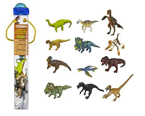 Safari Ltd. Gefiederte Dinosaurier Toob 681904- 12x handbemalte Sammelfiguren in Tube-Apatosaurus, Triceratops, Iguanodon, Corythosaurus, Stegosaurus, Ankylosaurus, Tyrannosaurus rex, Dimetrodon, Velociraptor, Spinosaurus, Diplodocus und Pteranodon