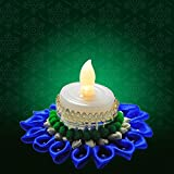 Hand Crafted Light With Ribbons & Flowers Festive Decor Floating Diya With Designer Tealight Candle Holder + 1...