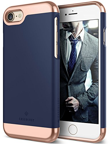 iPhone 7 Case, Caseology [Savoy Series] Slim Two-Piece Slider [Navy Blue] [Chrome Rose Gold] for Apple iPhone 7 (2016) (Nv Phone Case compare prices)