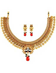 Reeva Fashion Jewellery Gold Alloy Necklace Set For Women - RNC05N1SAE