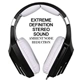 [2016 Newly Updated USB Gaming Headset] SADES A60/OMG PC Computer Over Ear Stereo Heaphones With Microphone Noise Isolating Volume Control LED Light (Black+White)