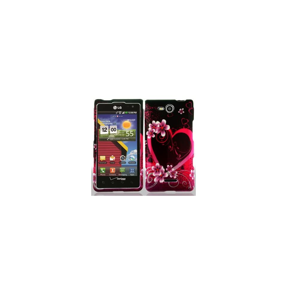 LG Lucid 4G 4 G VS840 VS 840 / Cayman Black with Hot Pink Love Hearts Flowers Design Snap On Hard Protective Cover Case Cell Phone