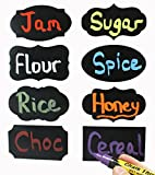 """Attmu Premium Quality Chalkboard Labels - 48 Pack Chalkboard Stickers - 8 Fantastic Designs, All 3.5"""" X 2"""". Quality Matte Finish, Self-adhesive Backing That Stays in Place Yet Is Easily Removable! Perfect for Labelling Jars, Bottles, Pantry Items, Folders & Many Items Around Your Home! Brilliant Colorful Results Using Liquid Chalk Markers or Traditional Chalk. Easily Movable Chalk Labels That Erase Easily!"""