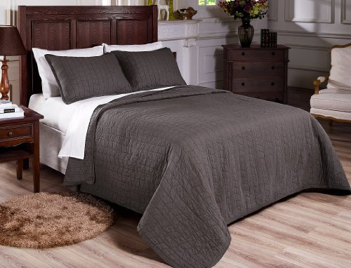 Buy Bargain Chezmoi Collection 3-piece Vintage Washed Solid Cotton Quilt & Shams Set, Full/Queen...