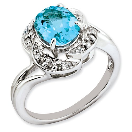 Sterling Silver Oval Blue Topaz & Diamond Ring