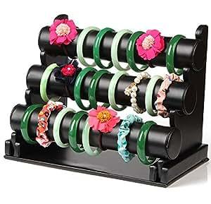 収納 便利 腕時計 ウォッチ バングル ブレスレット ジュエリー パワーストーン ディスプレイ スタンド 展示 飾り 白 黒 ピンク 1段 2段 3段 各種 (レザー調 黒3段)