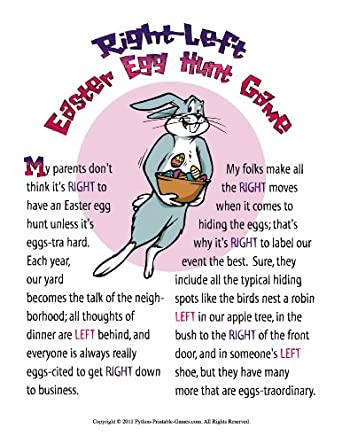 Printable Easter Bunny Left-Right Gift Exchange Game Game [Download]