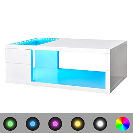 Anself - Mesa de centro en blanco con led luces, 110 x 60 x 41,5 cm