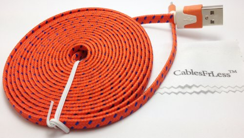 Cablesfrless (Tm) 6Ft Flat Braided Micro Usb Charging / Data Sync Cable Fits Most Android Phones And Tablets Samsung Galaxy S3 S4 Reverb Note Tab Google Nexus Kindle Nokia Lumia Htc One Asus Lg G2 Pantech Blackberry Motorola Sony Xperia Etc. (Orange)